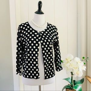 EVIE. Black & White Polka Dot Silk Blend Cardigan